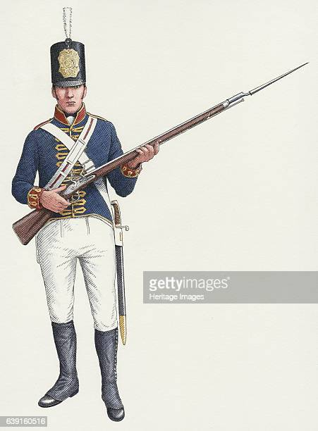 Napoleonic ordinary gunner from a Royal Artillery Invalid regiment c180315 Tresco Isles of Scilly Reconstruction drawing The Royal Regiment of...
