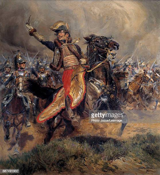 'Lasalle's final charge at Wagram General Charles Antoine Comte de Lasalle killed in Wagram on 6 July 1809' Painting by Jean Baptiste Edouard...
