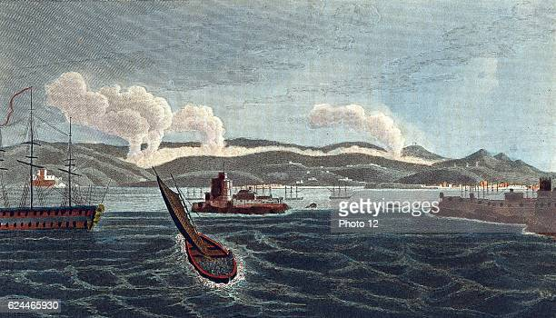 Napoleonic Wars Peninsular Campaign Battle of Corunna Spain 16 January 1809 viewed from the sea English under Sir John Moore defeated French Moore...