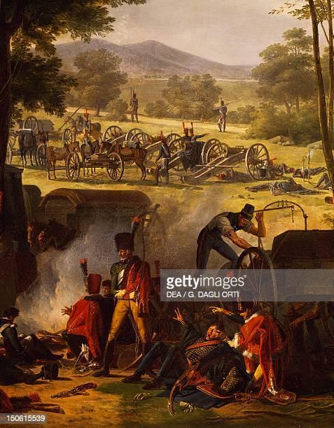 Napoleon's encampment at Castle Abersberg, May 4 by Pierre Antoine Mongin , oil on canvas, 135x203 cm. Detail. Napoleonic Wars, Austria 19th century.