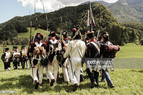 Napoleon's line infantry marching in Austria. Napoleonic wars, 19th century. Historical reenactment.