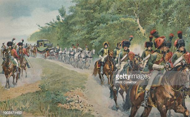 Napoleon's Mode of Traveling' circa 1800 Carriage of Napoleon Bonaparte accompanied by a military escort Typogravure after the aquarelle by F De...