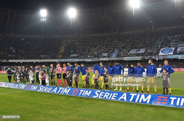 Napoli and Juventus teams line up before the Serie A match between SSC Napoli and Juventus at Stadio San Paolo on December 1 2017 in Naples Italy