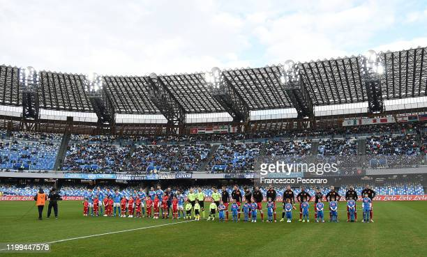 Napoli and Perugia players line up before the Coppa Italia match between SSC Napoli and Perugia on January 14 2020 in Naples Italy