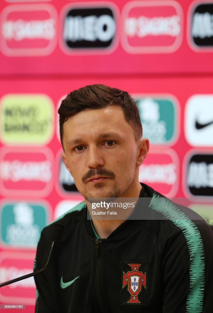 SSC Napoli and Portugal defender Mario Rui during Portugal National Team Press Conference before the friendly matches against Egypt and the Netherlands at FPF Cidade do Futebol on March 21, 2018 in Oeiras (outskirts of Lisbon), Portugal.
