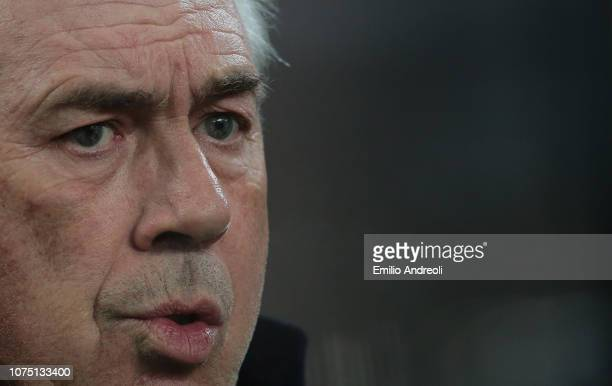 Napoli coach Carlo Ancelotti looks on during the Serie A match between FC Internazionale and SSC Napoli at Stadio Giuseppe Meazza on December 26 2018...