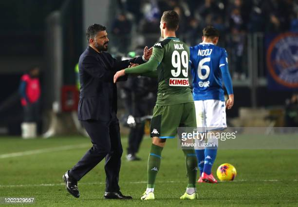 Napoli coach Gennaro Gattuso and Arkadiusz Milik of SSC Napoli celebrate a victory at the end of the Serie A match between Brescia Calcio and SSC...