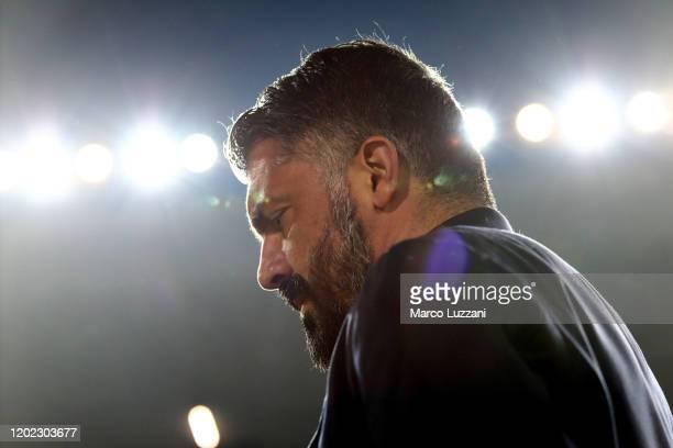 Napoli coach Gennaro Gattuso looks on before the Serie A match between Brescia Calcio and SSC Napoli at Stadio Mario Rigamonti on February 21 2020 in...