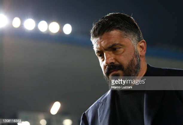 Napoli coach Gennaro Gattuso looks on before the Serie A match between Brescia Calcio and SSC Napoli at Stadio Mario Rigamonti on February 21 2020 in...
