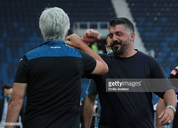 Napoli coach Ivan Gennaro Gattuso greets Atalanta BC coach Gian Piero Gasperini prior to the Serie A match between Atalanta BC and SSC Napoli at...