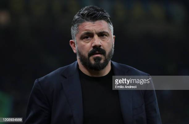 Napoli coach Ivan Gennaro Gattuso looks on during the Coppa Italia Semi Final match between FC Internazionale and SSC Napoli at Stadio Giuseppe...