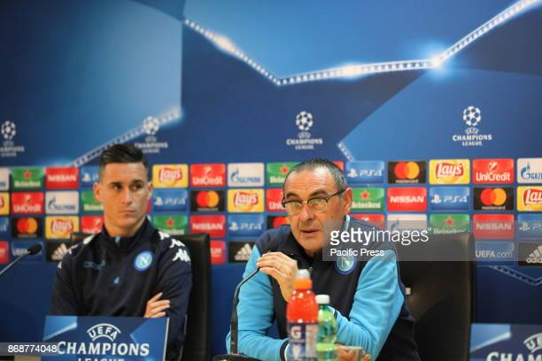 Napoli coach Maurizio Sarri and player Jose Maria Callejon during the prepress conference for tomorrow's Champions League match between Napoli and...