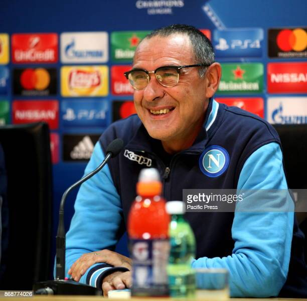 Napoli coach Maurizio Sarri during the prepress conference for tomorrow's Champions League match between Napoli and Manchester City