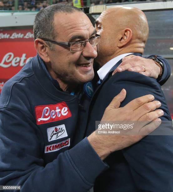 Napoli coach Maurizio Sarri embraces FC Internazionale Milano coach Luciano Spalletti prior to the serie A match between FC Internazionale and SSC...
