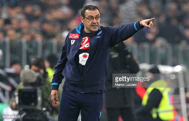 Napoli coach Maurizio Sarri issues instructions to his players during the Serie A match between and Juventus FC and SSC Napoli at Juventus Arena on...