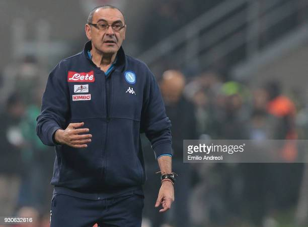 Napoli coach Maurizio Sarri issues instructions to his players during the serie A match between FC Internazionale and SSC Napoli at Stadio Giuseppe...