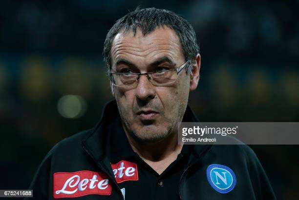 Napoli coach Maurizio Sarri looks on before the Serie A match between FC Internazionale and SSC Napoli at Stadio Giuseppe Meazza on April 30 2017 in...