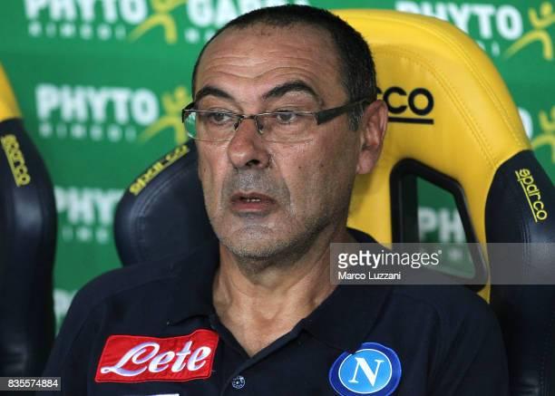 Napoli coach Maurizio Sarri looks on before the Serie A match between Hellas Verona and SSC Napoli at Stadio Marcantonio Bentegodi on August 19 2017...