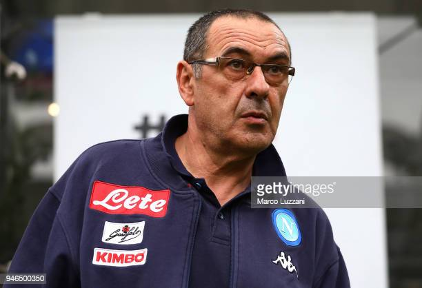 Napoli coach Maurizio Sarri looks on before the serie A match between AC Milan and SSC Napoli at Stadio Giuseppe Meazza on April 15 2018 in Milan...