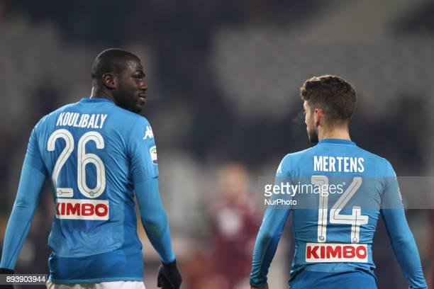 Napoli defender Kalidou Koulibaly talks with Napoli forward Lorenzo Insigne during the Serie A football match n17 TORINO NAPOLI on at the Stadio...