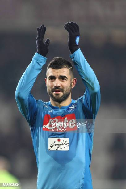 Napoli defender Raul Albiol celebrates victory after the Serie A football match n17 TORINO NAPOLI on at the Stadio Olimpico Grande Torino in Turin...