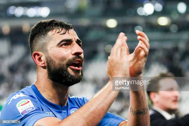 Napoli defender Raul Albiol celebrates victory after the Serie A football match n34 JUVENTUS NAPOLI on at the Allianz Stadium in Turin Italy