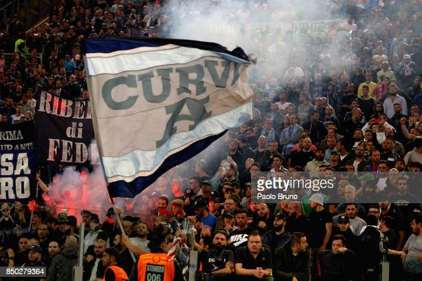 Napoli fans celebrate during the Serie A match between SS Lazio and SSC Napoli at Stadio Olimpico on September 20 2017 in Rome Italy