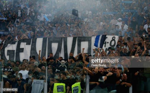 Napoli fans celebrate the victory after the serie A match between SS Lazio and SSC Napoli at Stadio Olimpico on August 18 2018 in Rome Italy