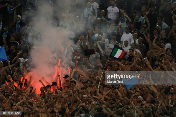 Napoli fans cheer for their team during the serie A match between SS Lazio and SSC Napoli at Stadio Olimpico on August 18 2018 in Rome Italy