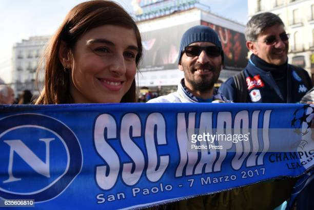 Napoli fans holding a banner with SSC Napli logo Nearly 10000 Napoli fans travel to Madrid to watch the UEFA Champions League match between Real...