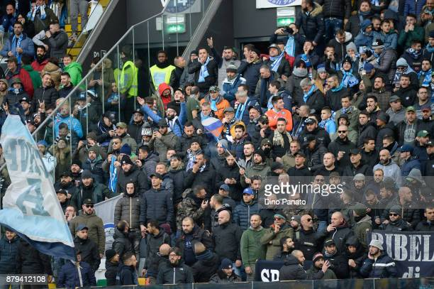 Napoli fans shows their support during the Serie A match between Udinese Calcio and SSC Napoli at Stadio Friuli on November 26 2017 in Udine Italy