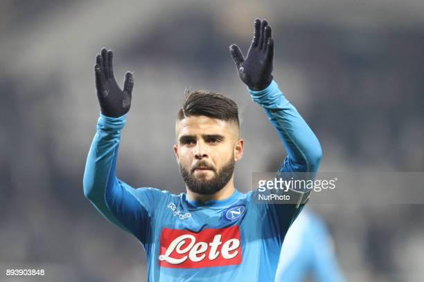 Napoli forward Lorenzo Insigne celebrates victory after the Serie A football match n17 TORINO NAPOLI on at the Stadio Olimpico Grande Torino in Turin...