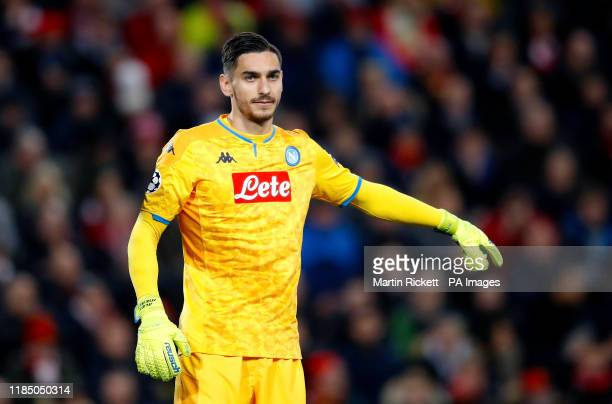Napoli goalkeeper Alex Meret during the UEFA Champions League Group E match at Anfield Liverpool