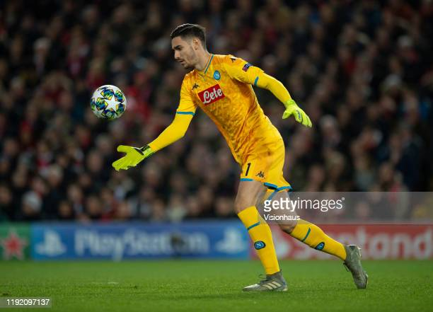 Napoli goalkeeper Alex Meret in action during the UEFA Champions League group E match between Liverpool FC and SSC Napoli at Anfield on November 27...