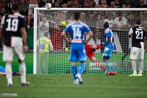 Napoli goalkeeper Alex Meret saved by the pol during the Serie A football match n2 JUVENTUS NAPOLI on August 31 20199 at the Allianz Stadium in Turin...