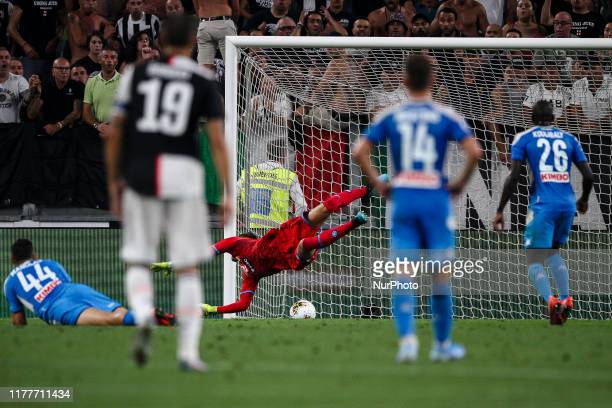 Napoli goalkeeper Alex Meret saved by the pol during the Serie A football match n2 JUVENTUS NAPOLI on August 31 2019 at the Allianz Stadium in Turin...