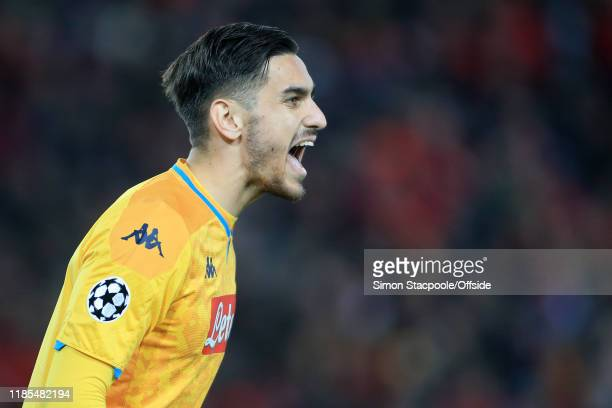Napoli goalkeeper Alex Meret shouts instructions during the UEFA Champions League group E match between Liverpool FC and SSC Napoli at Anfield on...