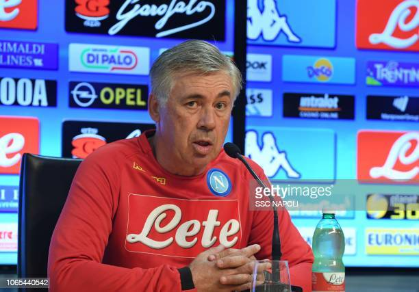 Napoli Head Coach Carlo Ancelotti attends a press conference on November 09 2018 in Naples Italy