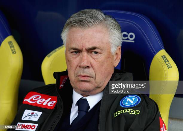 Napoli head coach Carlo Ancelotti looks on during the Serie A match between Frosinone Calcio and SSC Napoli at Stadio Benito Stirpe on April 28 2019...