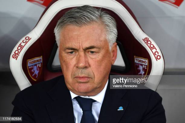 Napoli head coach Carlo Ancelotti looks on during the Serie A match between Torino FC and SSC Napoli at Stadio Olimpico di Torino on October 6 2019...