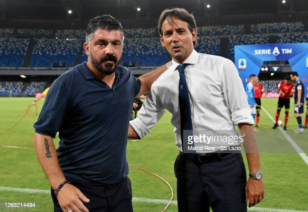 Napoli head coach Gennaro Gattuso and SS Lazio head coach Simone Inzaghi pose before the Serie A match between SSC Napoli and SS Lazio at Stadio San...