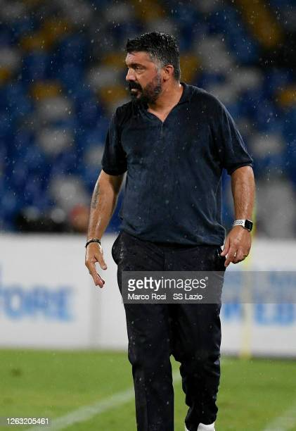 Napoli head coach Gennaro Gattuso during the Serie A match between SSC Napoli and SS Lazio at Stadio San Paolo on August 01 2020 in Naples Italy