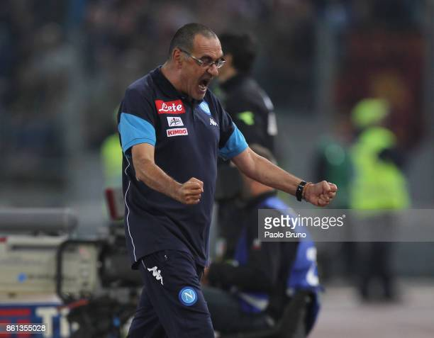Napoli head coach Maurizio Sarri celebrates the victory after the Serie A match between AS Roma and SSC Napoli at Stadio Olimpico on October 14 2017...