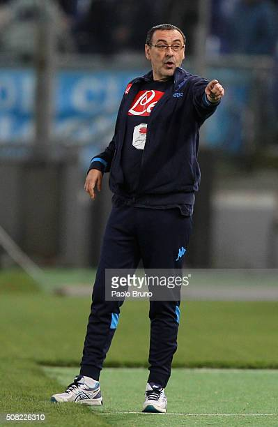 Napoli head coach Maurizio Sarri gestures during the Serie A match between SS Lazio and SSC Napoli at Stadio Olimpico on February 3 2016 in Rome Italy