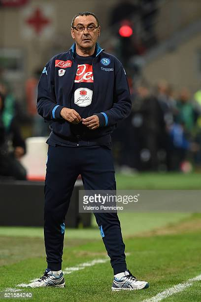 Napoli head coach Maurizio Sarri looks dejected during the Serie A match between FC Internazionale Milano and SSC Napoli at Stadio Giuseppe Meazza on...