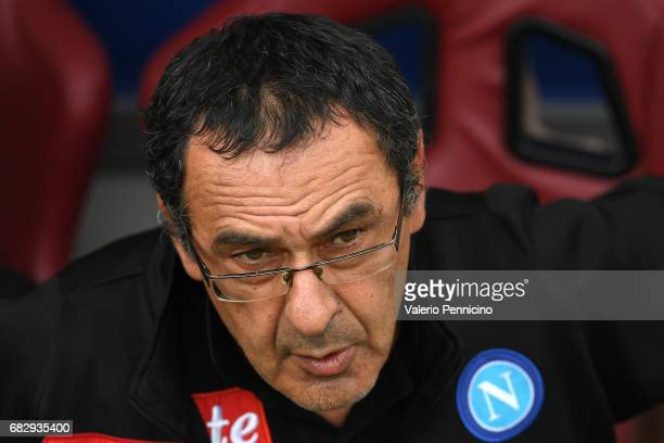 Napoli head coach Maurizio Sarri looks on during the Serie A match between FC Torino and SSC Napoli at Stadio Olimpico di Torino on May 14 2017 in...