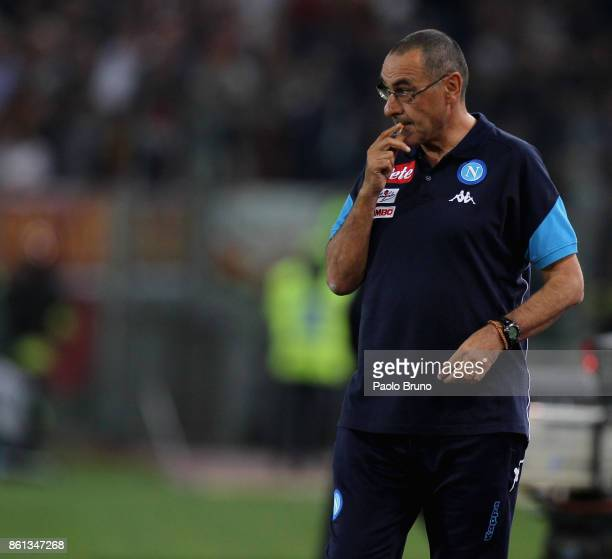 Napoli head coach Maurizio Sarri looks on during the Serie A match between AS Roma and SSC Napoli at Stadio Olimpico on October 14 2017 in Rome Italy