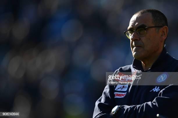 Napoli head coach Maurizio Sarri looks on during the serie A match between Atalanta BC and SSC Napoli at Stadio Atleti Azzurri d'Italia on January 21...