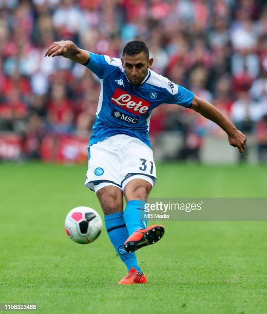 Napoli Left-Back, Faouzi Ghoulam, shoots during the Pre-Season Friendly match between Liverpool FC and SSC Napoli at Murrayfield on July 28, 2019 in...