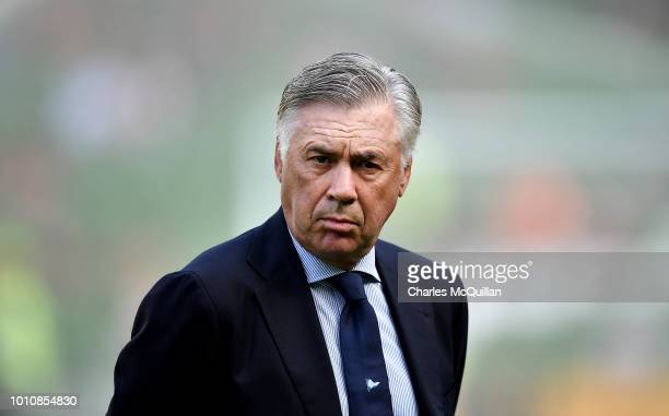 Napoli manager Carlo Ancelotti during the international friendly game between Liverpool and Napoli at Aviva Stadium on August 4 2018 in Dublin Ireland